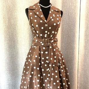 Brown and white polka dot dress